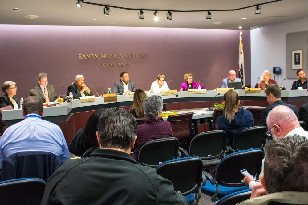 Located within the business building of Santa Monica College, the Board of Trustees meet once a month to go over items in a public meeting on Tuesday, March 6, 2018 in Santa Monica, California. The board, listed from left to right are Trustee Dr. Louise Jaffe, Trustee Rob Rader, Superintendent/President Dr. Kathryn E. Jeffery, Chair Barry Snell, Vice Chair Dr. Margaret Quinones-Perez, Trustee Dr. Nancy Greenstein, Trustee Dr. Andrew Walzer, Trustee Dr. Susan Aminoff, and Student Trustee Chase Matthews. (Photo by Ethan Lauren/Corsair Staff)