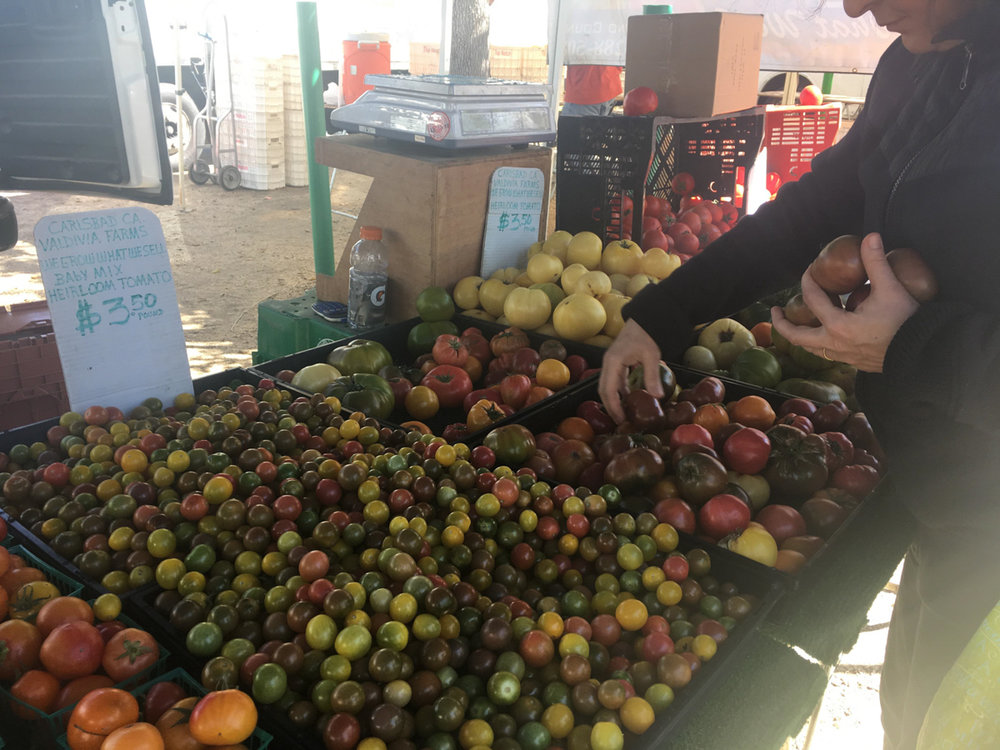 A customer choosing ripe tomatoes of different colors at the Valdivia Farms vendor that specializes in tomatoes on March 3, 2018 at the farmers market in Virginia Avenue Park in Santa Monica, Calif.(Photo by: Claudia Vardoni)