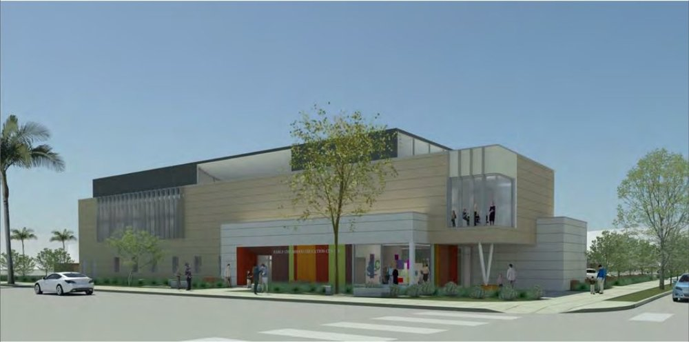 The proposed design for the Santa Monica early childhood lab school, planned to be built upon an empty parking lot located at Civic Center Drive and 4th Street. Construction will officially begin with a formal event on Tuesday, March 13, when the city of Santa Monica and Santa Monica college will break ground. ( Image courtesy of Carde Ten Architects )