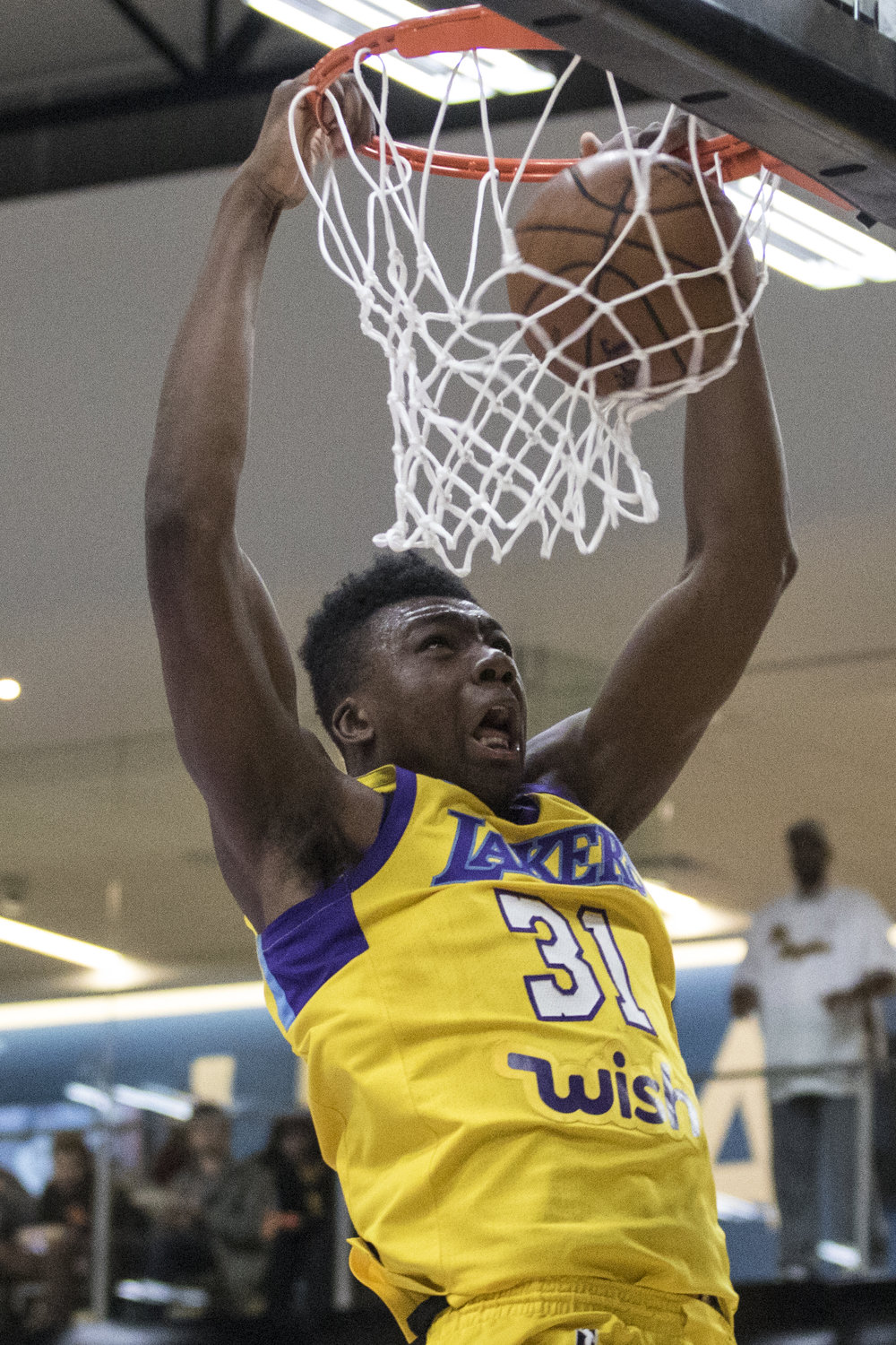 South Bay Lakers center Thomas Bryant dunks the ball in his Gatorade League game against the Agua Caliente Clippers which took place at UCLA Health Stadium in El Segundo, California  on March 15, 2018. (Zane Meyer-Thornton/ Corsair Photo)