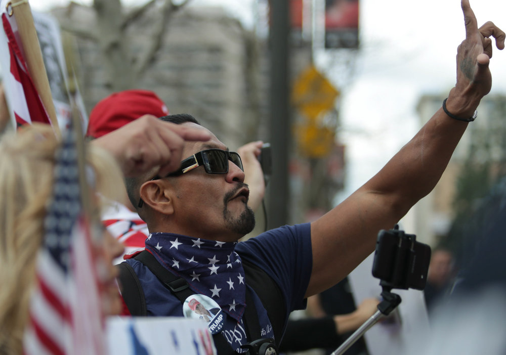 One of the loudest voices of the day, Harim Ucciel, made it known that he was an educated latino who was pro Donald Trump. Ucciel showed his support for the 2nd Amendment at the March for Life in Downtown Los Angeles. Events took place on Saturday, March 24, 2018. (William Wendelman/Corsair Photo)
