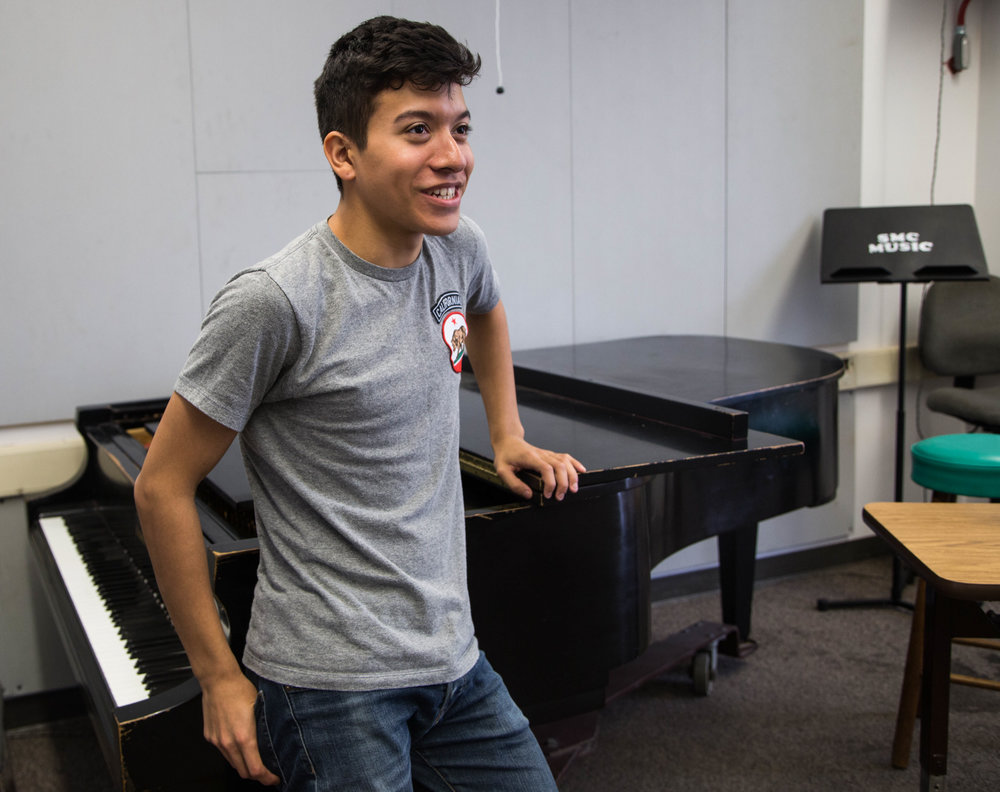 President of Santa Monica College's (SMC) Music Appreciation Club,  Leonardo Rodriguez (20), Thursday, March 22, 2018, at SMC's Performance Arts Center in Santa Monica, California. (Zeynep Abes/ Corsair Photo)