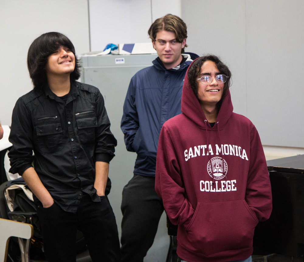 Club members (left to right) Carlos Edenilson Mira, Ethan Tadmor and Angel Remegio-Romero in Music Appreceation Club meeting , Thursday, March 22, 2018, at Santa Monica College's Performance Arts Center in Santa Monica, California (Zeynep Abes/ Corsair Photo)