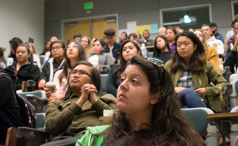 Members of Phi Theta Kappa, an honor society at Santa Monica College, such as Cassandra Amzallag, front, meet in the Science building, room 140 at 11:15 a.m. for the weekly meeting on Tuesday, March 20 in Santa Monica, California. Students wishing to join must pay an $80 membership fee, which is a one-time fee during their time at the college, but students have to maintain a 3.0 GPA. Benefits that PTK advertise are scholarships, volunteer opportunities, and a transcript notation. (Ethan Lauren/Corsair Photo)