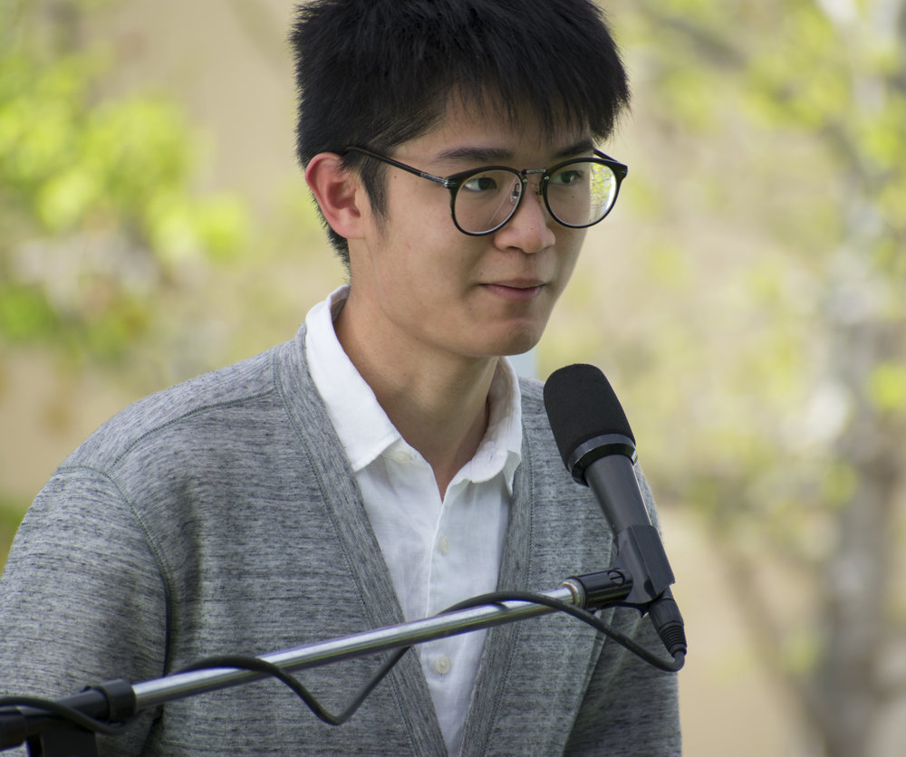 Chi Yuen Sham, a candidate for the position of community relations on the Associated Students of Santa Monica College board introduces himself during a forum to give candidates running for the election a platform. (Ethan Lauren/Corsair Photo)