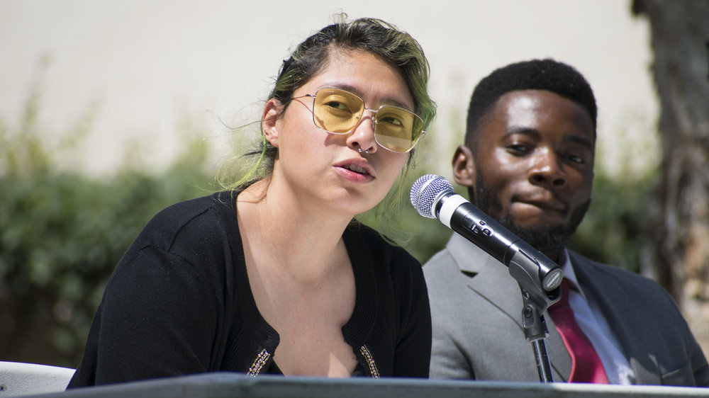 Alexa Benavente and Gosple Ofoegbu, both are running for the position of student advocacy on the Associated Students of Santa Monica College board and answer questions about their position during a forum to give candidates running for the election a platform on April 3 in Santa Monica, California. (Ethan Lauren/Corsair Photo)