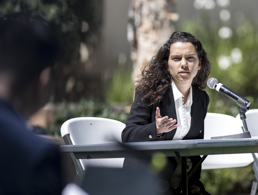 Santa Monica College Associated Student (A.S) Director of Budget Management candidate Maria Damien discusses why she would be a great choice if elected A.S Director of Budget Management during the A.S election debate on the quad of the Santa Monica College main campus in Santa Monica California, on Tuesday, April 3, 2018. (Matthew Martin/Corsair Photo)