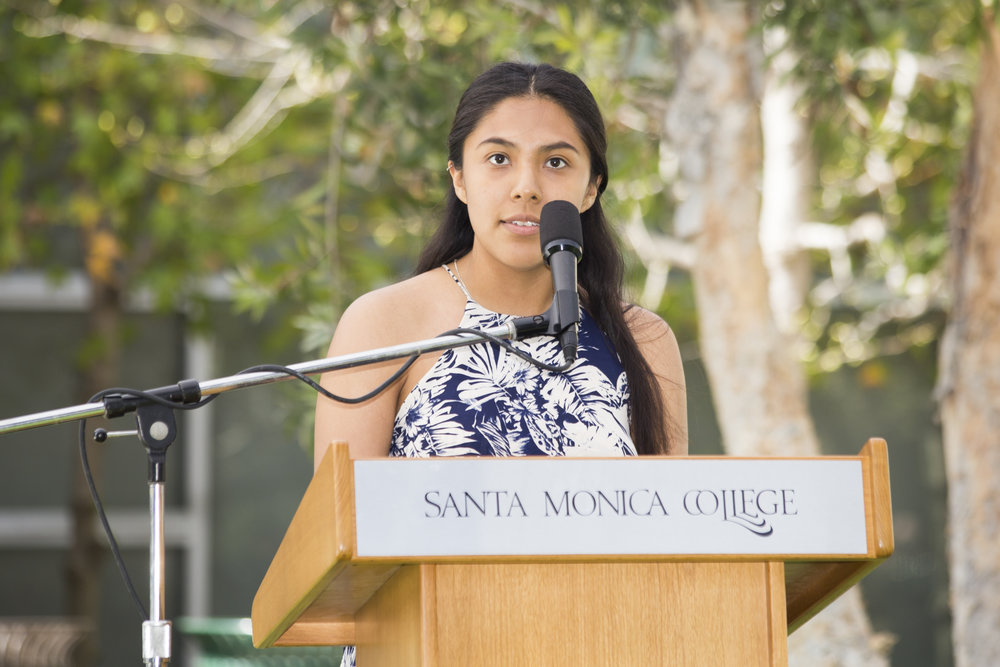 Kimberly Hernandez running for Director of Student Assistance. Introducing herself to the crowd.SMC main campus in Santa Monica California, on Tuesday, April 3, 2018. (Fernanda Rivera/Corsair Photo)