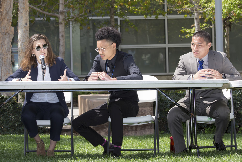 (Left to right) Isabel Rodriguez, Joshua Cha, and Beau Espeso, presidential candidates responding to the crowd's questions.SMC main campus in Santa Monica California, on Tuesday, April 3, 2018. (Fernanda Rivera/Corsair Photo)
