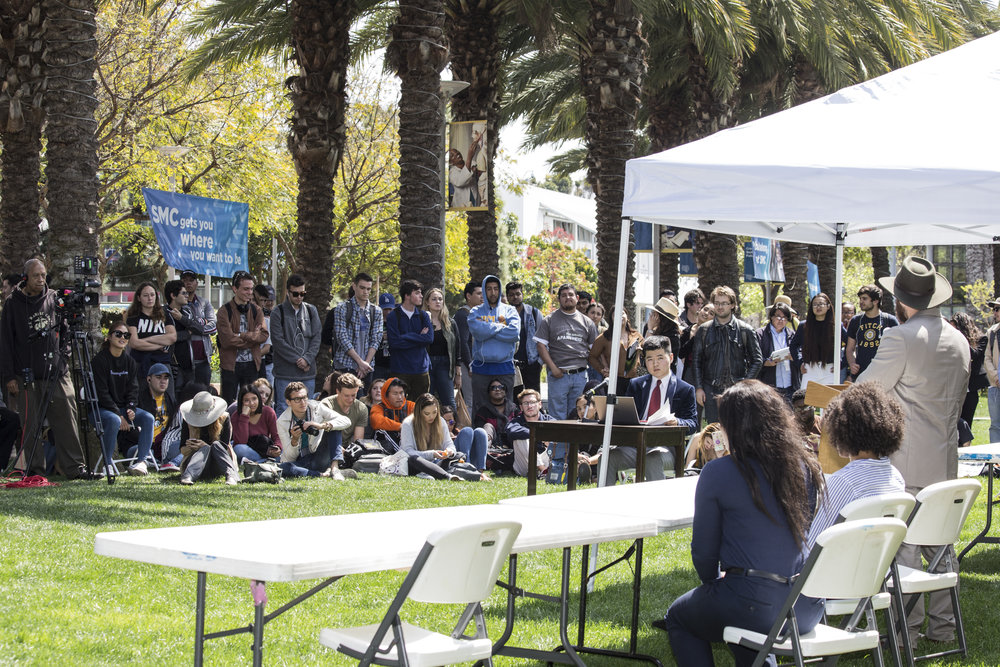 Associate Students Forum going on as students paying attention to Student Trustee candidates answers. SMC main campus in Santa Monica California, on Tuesday, April 3 2018. (Fernanda Rivera/Corsair Photo)