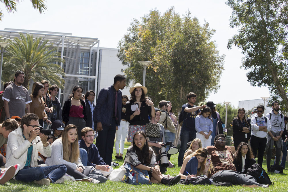 Santa Monica College students listening to the A.S. ForumSMC main campus in Santa Monica California, on Tuesday, April 3, 2018.(Fernanda Rivera/Corsair Photo)