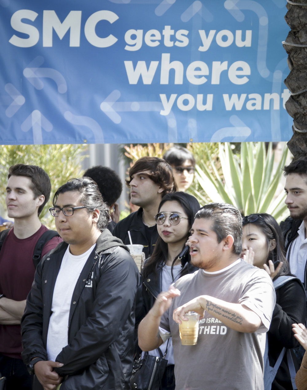 Santa Monica College students attend the Associated Students elections debate held at the quad of the main campus on Tuesday, April 3, 2018. In Santa Monica, California. (Ashutosh Bikram Singh/Corsair Photo)