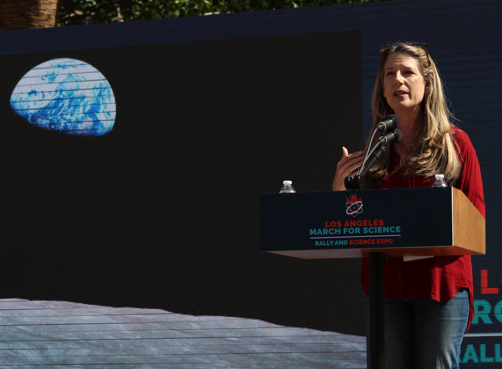 Astrophysicist and curator of the Gryffith Observatory, Dr. Laura Danly, discusses the importance of science and its role in shaping the world for the LA March for Science held at Pershing Square in Downtown Los Angeles, California, on Saturday, April 14th, 2018. (Pyper Witt/ the Corsair)