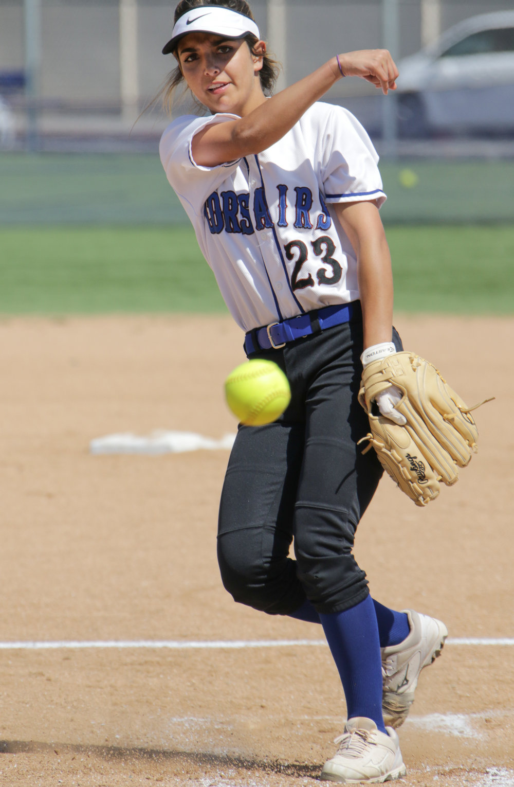 Santa Monica College Corsair softball team pitcher Taylor Liebesman practicing throwing her pitch before the start of a new inning during their game against Oxnard  College on thursday, April 19th, 2018. The game ended 3-2 in favor for Santa Monica College. (Santa Monica, California, Thursday April 19th, 2018) (Ashutosh  Bikram Singh/Corsair Photo)