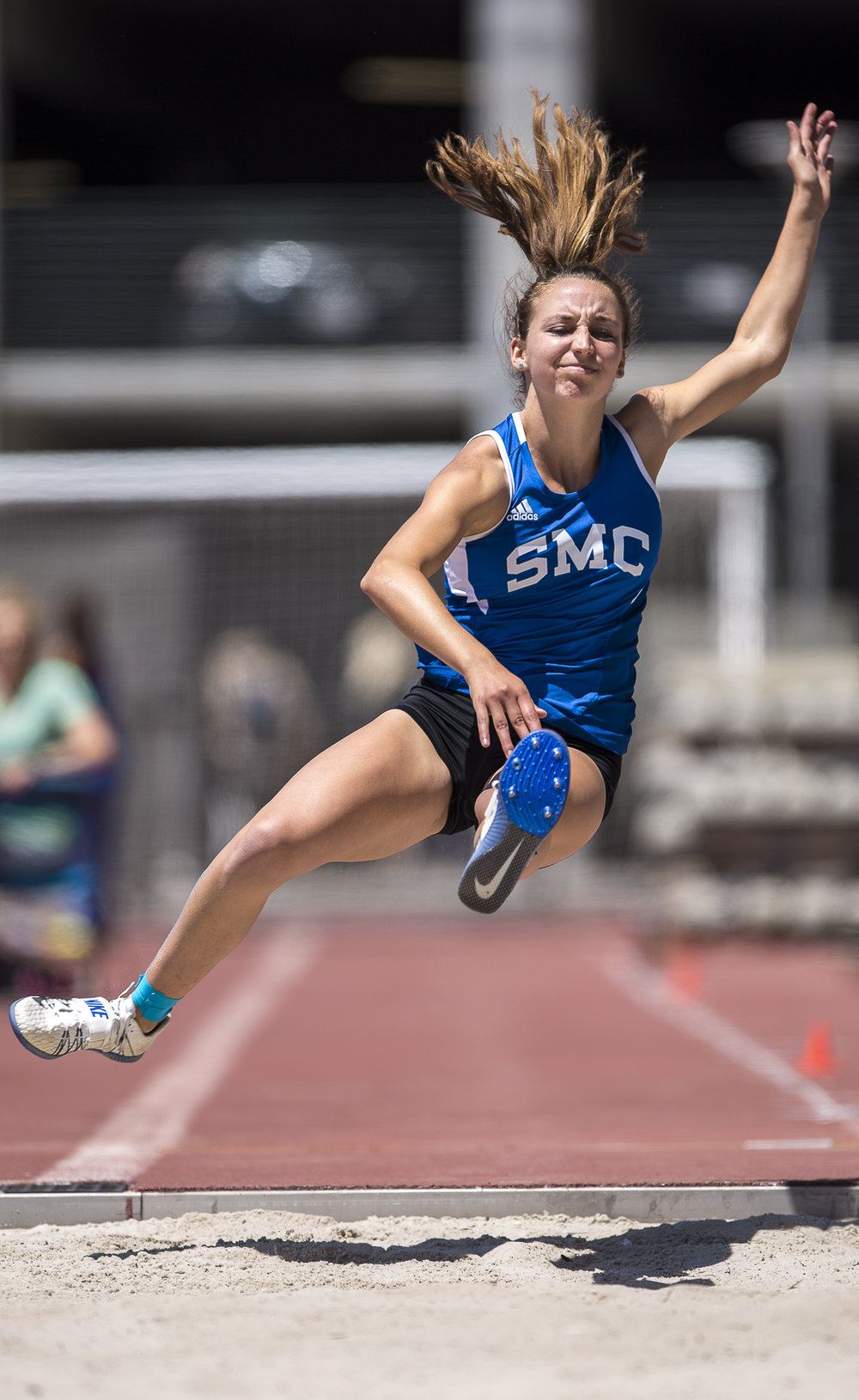 Santa Monica College (SMC) Corsair long jump athlete Joie Cosentino participates in the Women's long jump event that took place during the Track and Field Western State Championships at the SMC Corsair Stadium in Santa Monica California on Friday April 20 2018. Joie Consentino jumped a lifetime best of 4.93 meters to take 6th place. (Matthew Martin/Corsair Photo)