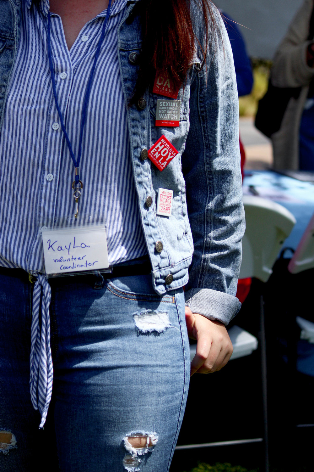 Kayla Hefling, volunteer coordinator for SMCs Consent week, wears denim as apart of the 19 year old National Denim Day in Santa Monica, California, on Wednesday, April 25, 2018. (Pyper Witt/ the Corsair)