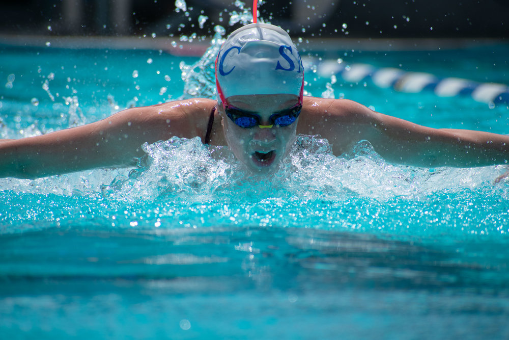 Shayna Simmer practices her butterfly stroke on Monday, April 23, 2018 at the Santa Monica Swim Center in Santa Monica, California. Simmer will be headed to the CCCAA Swim and Dive State Championships, which will be held from Monday, May 3 to Saturday, May 6 to compete in the 200 and 400-yard individual medley and the 100-yard butterfly. (Ethan Lauren/Corsair Photo)