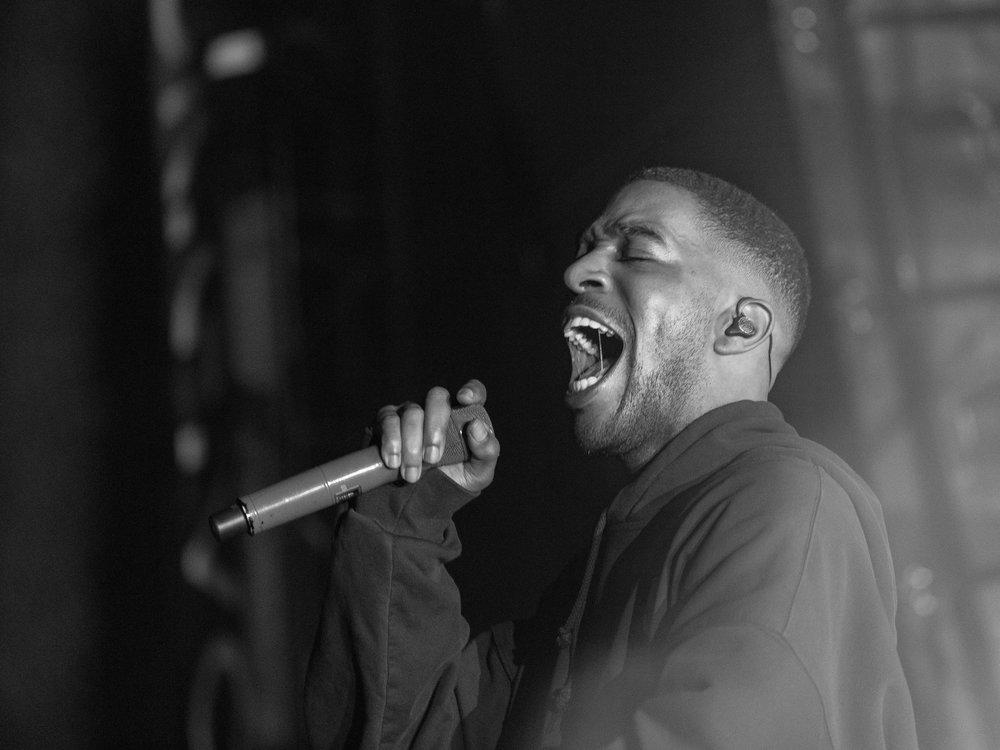 "Headliner and rapper Kid Cudi (Scott Ramon Seguro Mescudi) performs ""REVOFEV"" in front of thousands during his set"