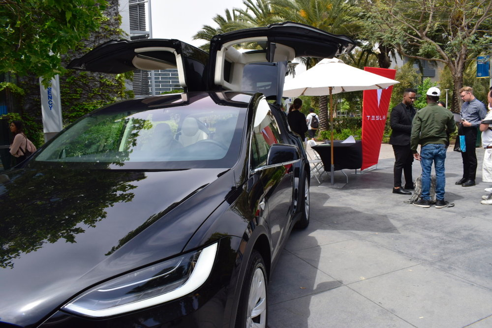 The Tesla car that was brought onto campus during the Job Fair at Santa Monica College on May 8, 2018. Tesla drew a lot of attention with the car and many students lined up with questions about job opportunities at their company. (Claudia Vardoni/ Corsair Photo)