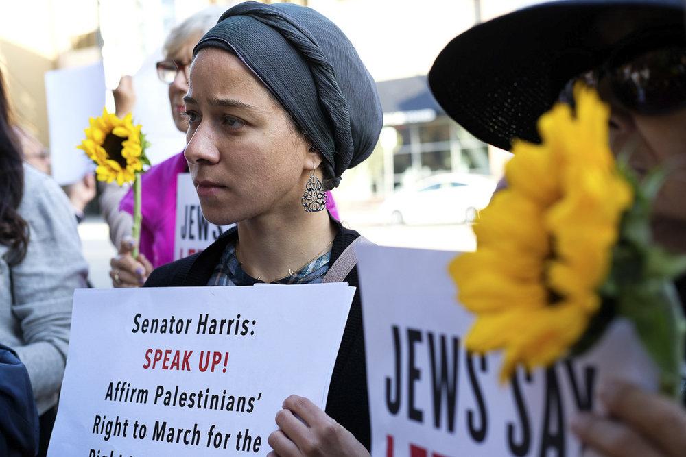Noor Khouzam attends the Vigil for Gaza in Santa Monica, California on May 18, 2018. (Jayrol San Jose/Corsair Contributor)