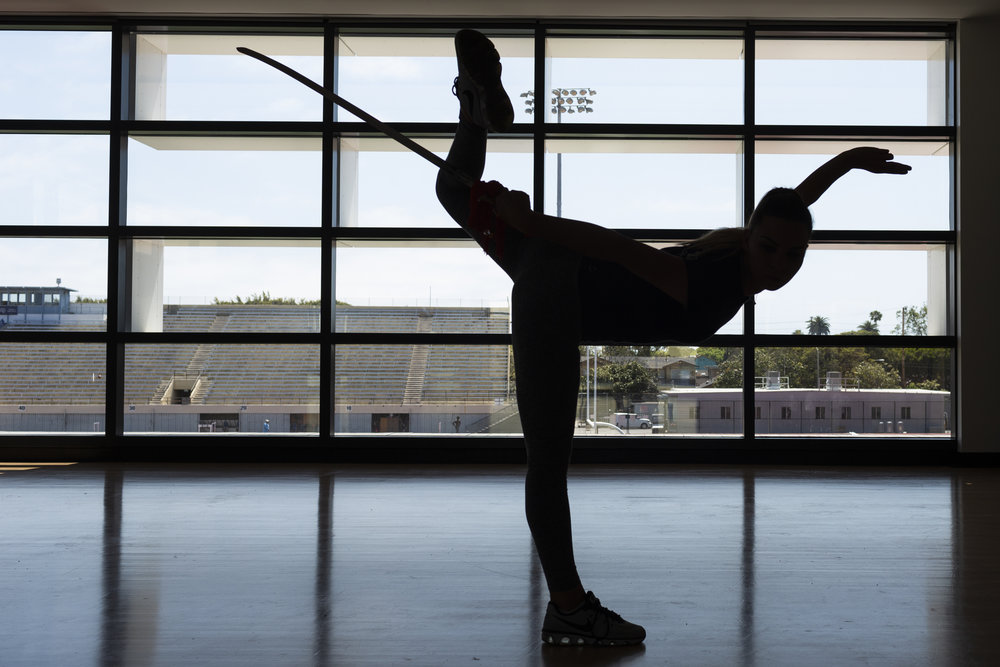 Former Wushu World Champion Amina Materukhina practises alone in the Core Performance Center at Santa Monica College, Santa Monica, CA on Thursday May 17 2018. Photo by Ruth Iorio
