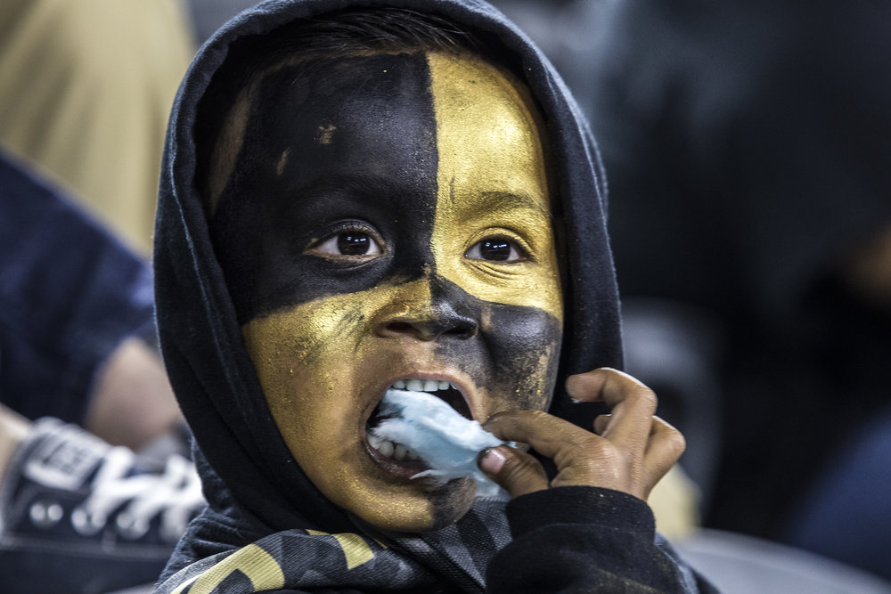 A young Los Angeles Football Club fan enjoys cotton candy during the teams match against the Minnesota United Football Club on May 9, 2018 at Banc Of California Stadium. (Zane Meyer-Thornton/Corsair Photo)