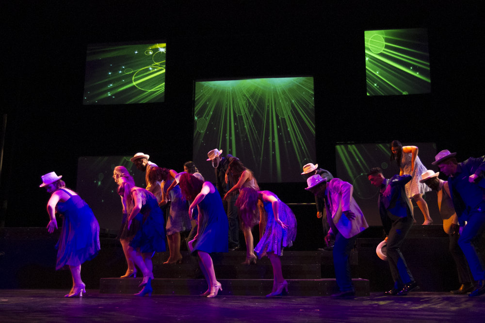 Performers dancing on stage. By Yasser Marte. Smokey Joe's Cafe Musical. Santa Monica College (SMC) Theater Arts Main Stage. Oct. 2, 2018 ( Yasser Marte/ Corsair Staff)