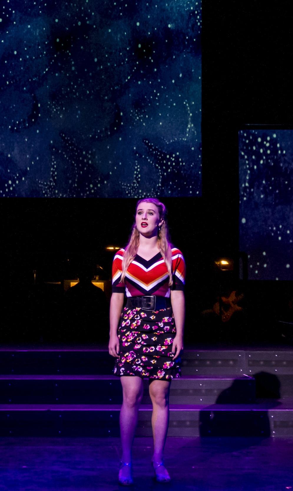 Rachael Moore singing at the Main Stage in SMC. Smokey Joe's Cafe Musical. Santa Monica College (SMC) Theater Arts Main Stage. Oct. 2, 2018 (Yasser Marte/ Corsair Staff)