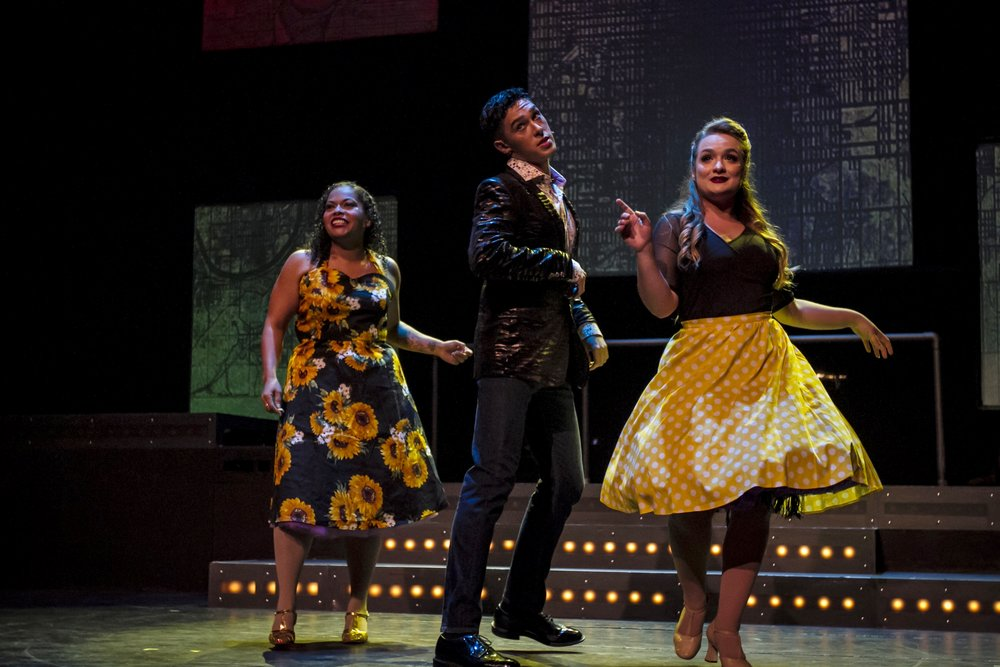 Kent Navarrette (center), Elizabeth Orellana (left) and Serenity Robb (right) performing on stage. By Yasser Marte. Smokey Joe's Cafe Musical. Santa Monica College (SMC) Theater Arts Main Stage. Oct. 2, 2018. ( Yasser Marte/Corsair Staff)