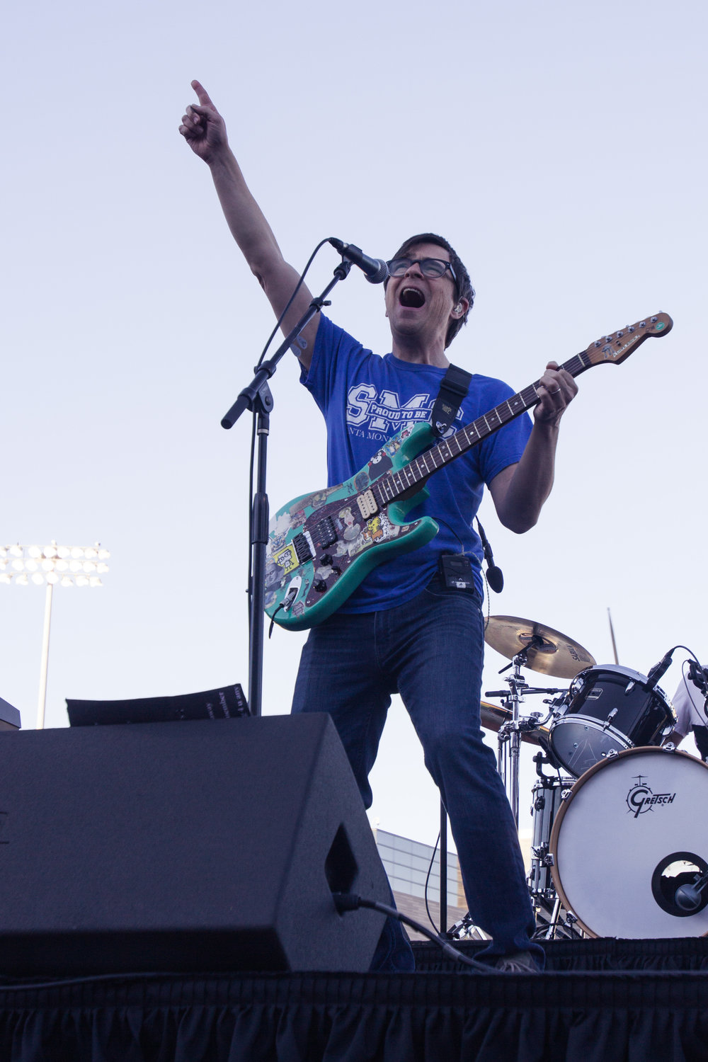 Lead singer of the band Weezer, Rivers Cuomo singing the chorus part of Africa by Toto that he did a cover of during the Halftime show of the Santa Monica Corsair's Homecoming game in Santa Monica, California on Saturday, October 20th. (Jacob Victorica/ Corsair Photo)
