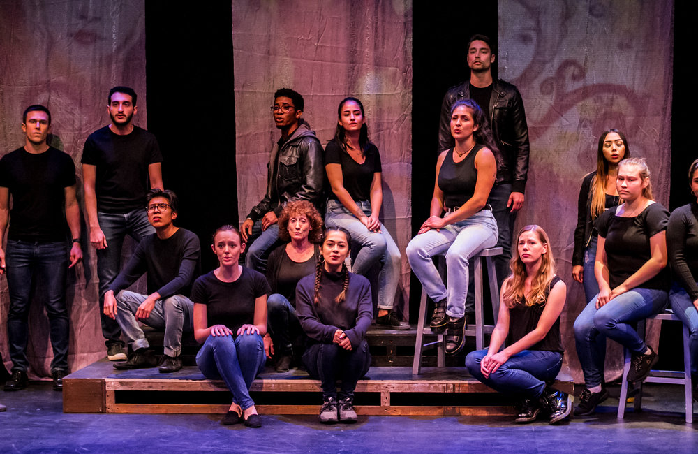 Cast of Voices of Hope sit during a moment cofessions about sexual assault and domestice violence. Dress rehearsal production was in the Santa Monica College's (SMC) Sound Stage Oct. 30, 2018. (Yasser Marte/Corsair Staff)