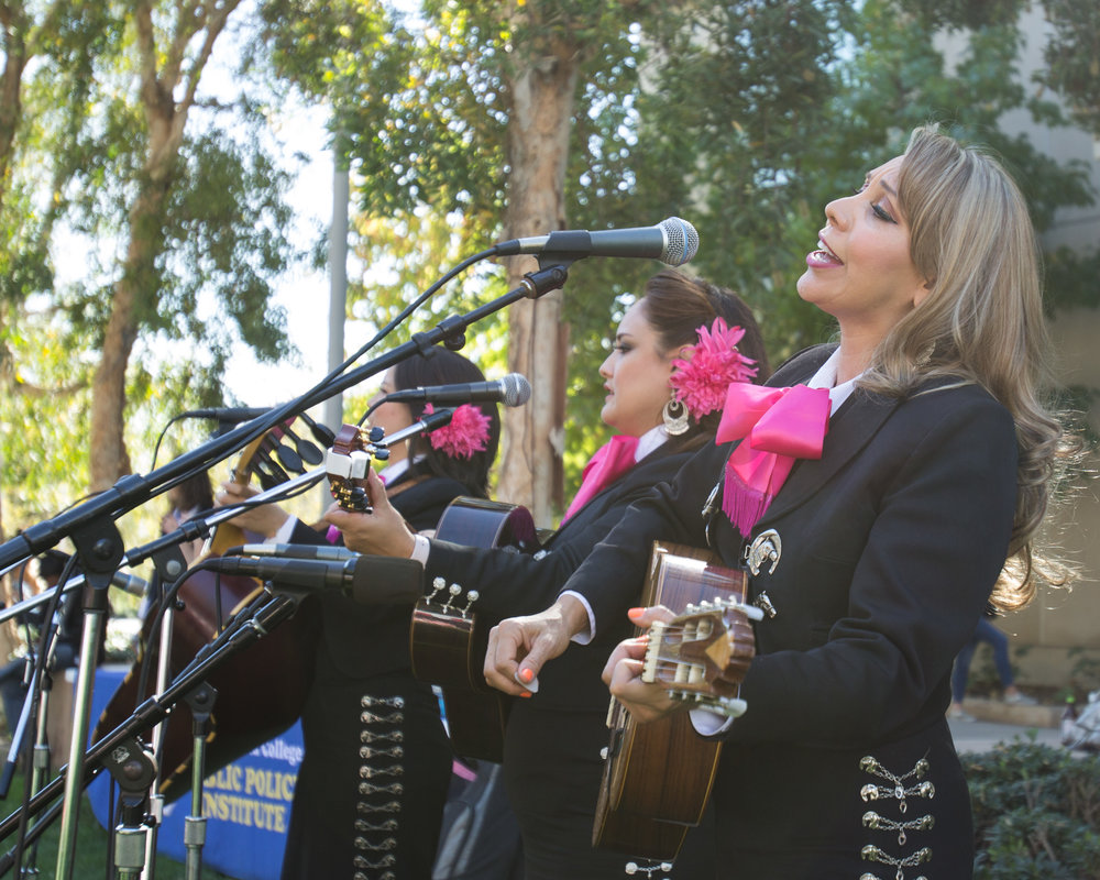 "Mariachi band ""Corazon De Mexico"" performing cover of the song ""El Rey"" by Vicente Fernandez outside the quad area located at  Santa Monica College in Santa Monica California on Tuesday November 13th, 2018. (Jacob Victorica/ Corsair Photo)"