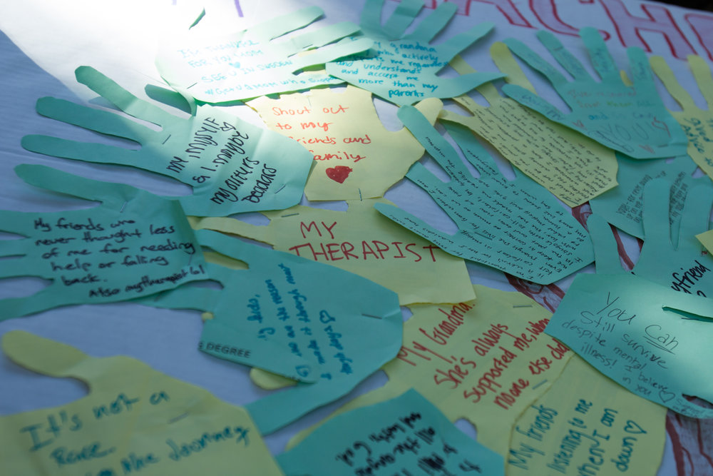 Active Minds booth taken place at the quad area to encourage students to write down anyone or anything that has given them positive affirmations outside the quad area located at Santa Monica College in Santa Monica California on Tuesday November 13th, 2018. (Jacob Victorica/ Corsair Photo).