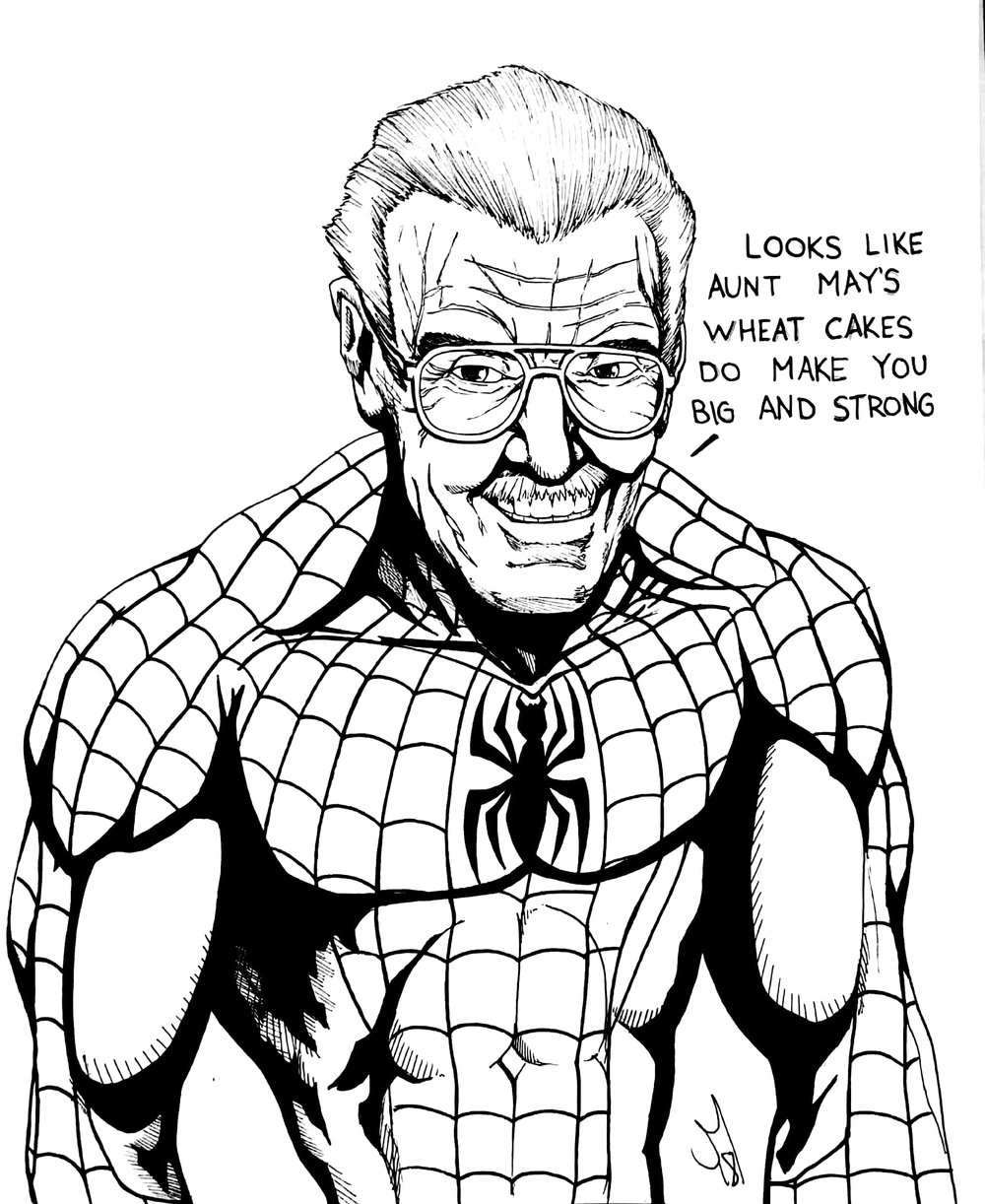 Illustration of Stan Lee as one of his character, Spider Man by Jorge Marrero ( American Goth Press and Famous Monsters of Filmland ) for The Corsair