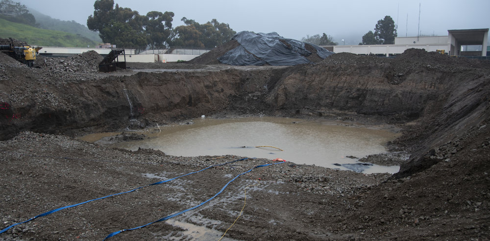 Construction on Santa Monica College's Malibu Campus halts due to continuous heavy rainfall on February 14, 2019 in Malibu, California. The Camps is expected to be finished by 2020, and open to students the following year. Photo By: Oskar Zinnemann/The Corsair