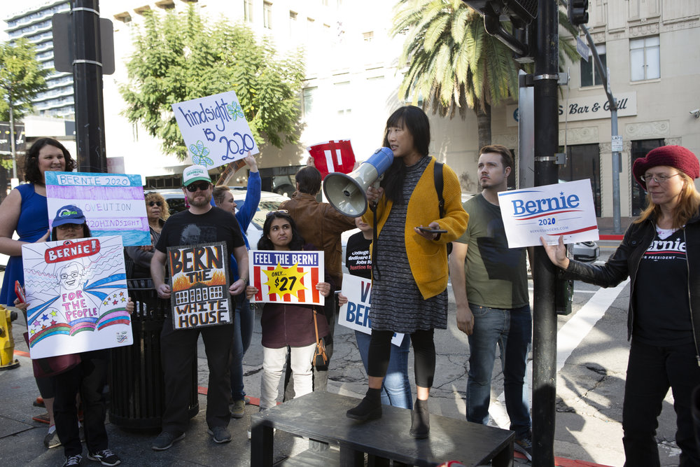Bernie Sanders supporters gathered for the march and rally, Saturday, February 23, 2019 in Hollywood, Calif. Senator Bernie Sanders announced this past Tuesday that he will again seek the presidency and his supporters get together to support him with different slogans. Yasmin Jafari /The Corsair