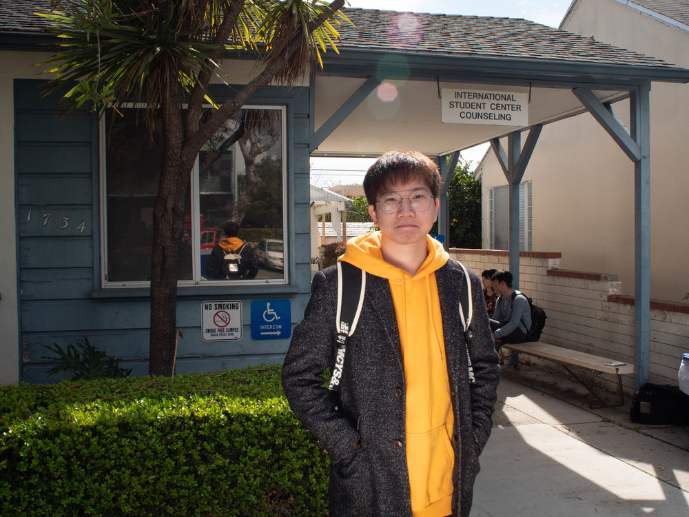 Guan Gshan an international student poses outside The International Education Counseling Center of Santa Monica College on February 21st, 2019, in Santa Monica, California. Victor Noerdlinger/The Corsair