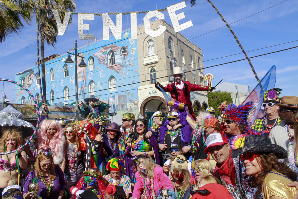 Final group photos taken at the end point of the 17th annual Venice Beach Mardi Gras parade in Los Angeles, California, on Feb 23, 2019. Photo by Danica Creahan.
