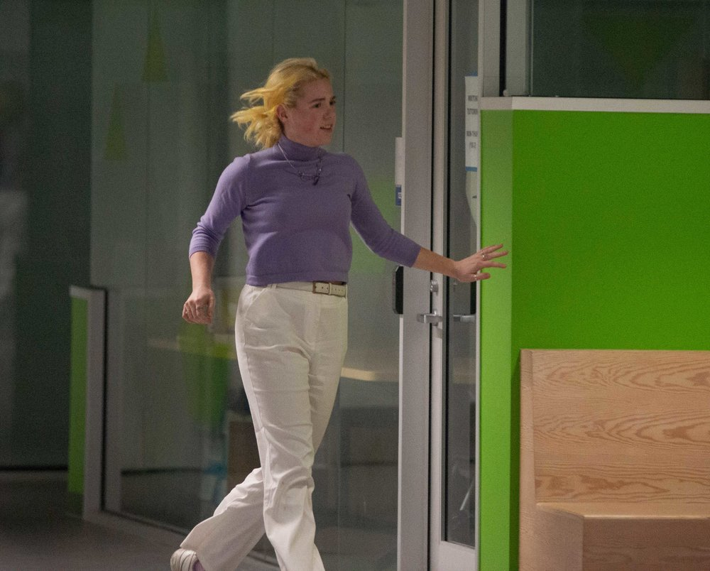A.S. Director of Sustainability Brooke, running through CMD building D after seeing a gunman on Friday, March 1st 2019.