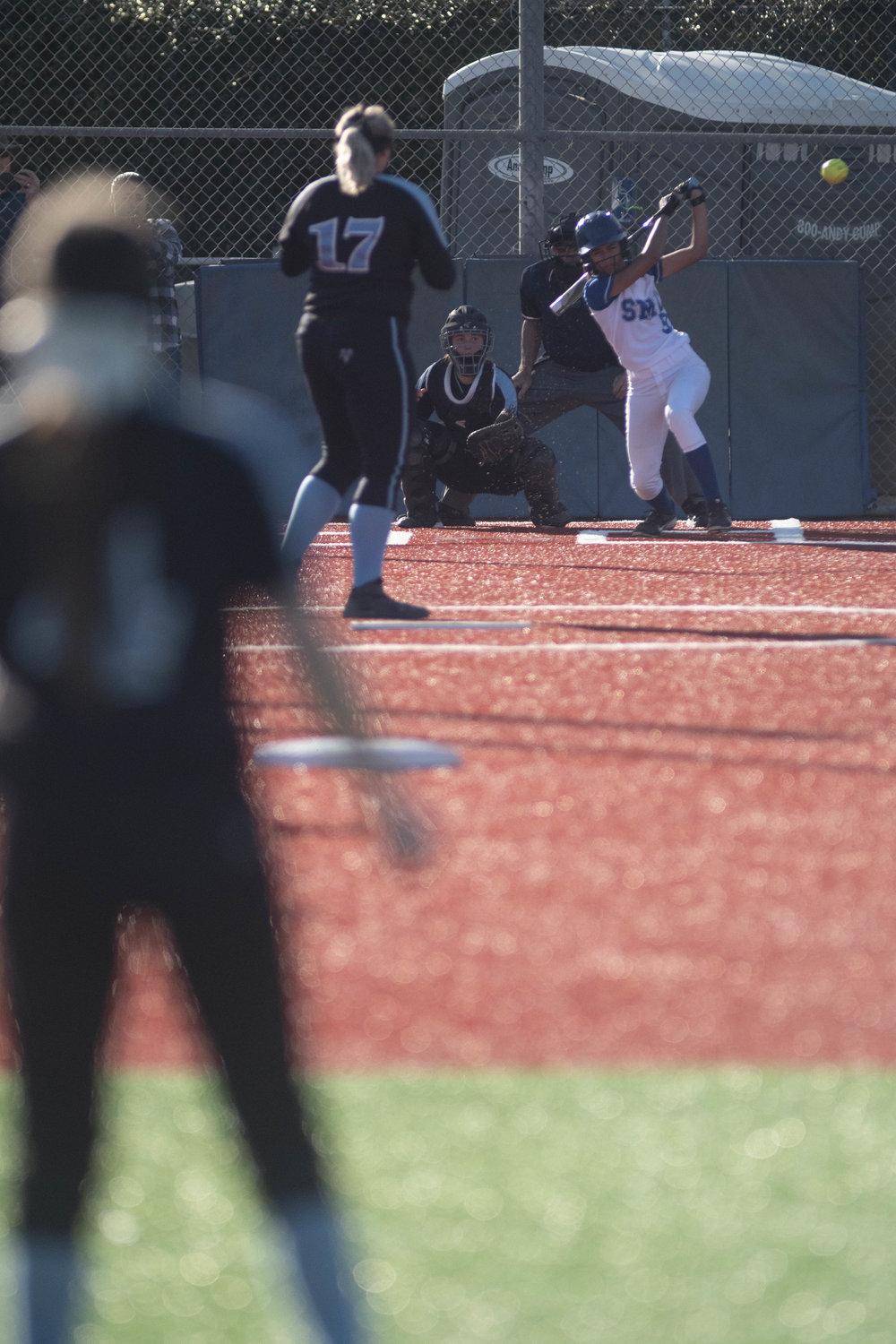 Liana Garcia connects with the ball on Thursday afternoon, March 7, 2019, as the Santa Monica College softball team defeated Questa. (Victor Noerdlinger/Corsair Staff)