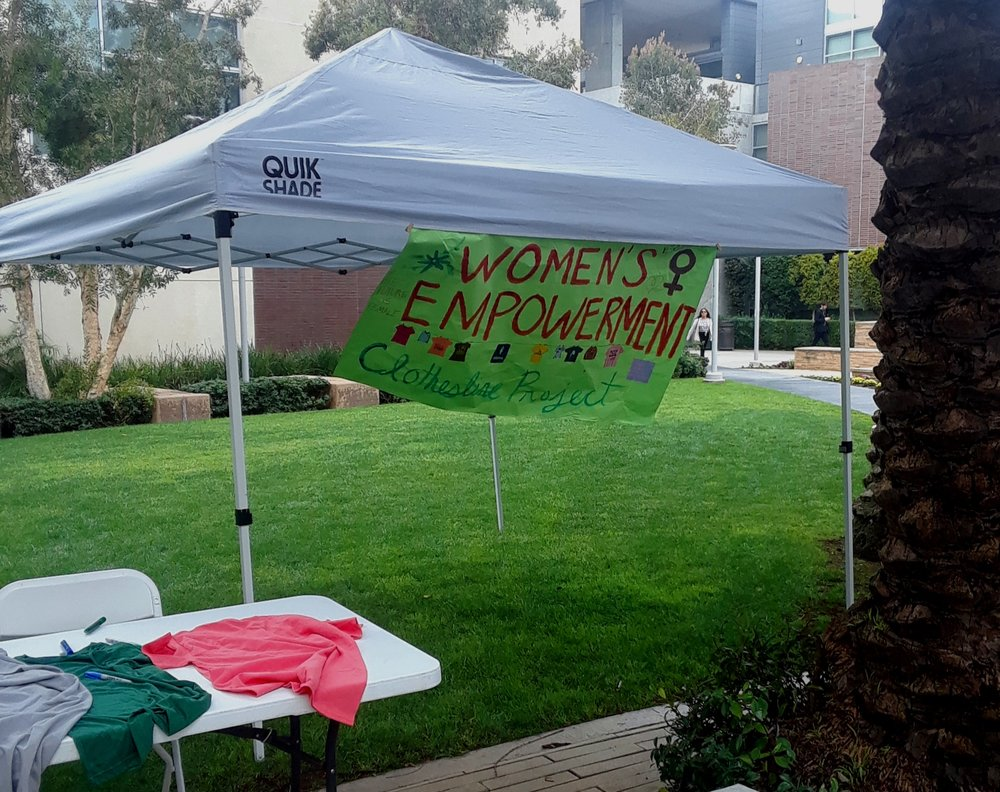 In honor of Women's Empowerment month, Santa Monica College students organize the Clothesline Project on main campus on Tuesday, March 5 in Santa Monica, California. Martha Ramirez/ The Corsair