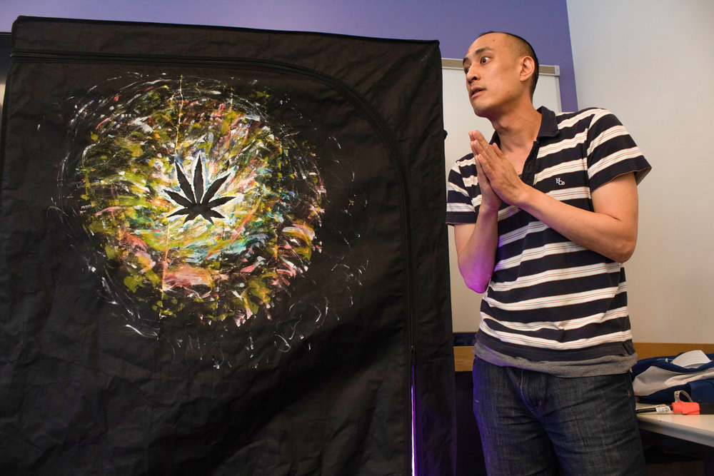 """Keenan Chao during his educational event on growing cannabis in the home, hosted by Santa Monica Public library in Santa Monica, California on March 10, 2019. """"Even though these questions might seem very mundane, to me they were huge issues and I just felt embarrassed or intimidated by the whole process"""" Photo by Danica Creahan."""