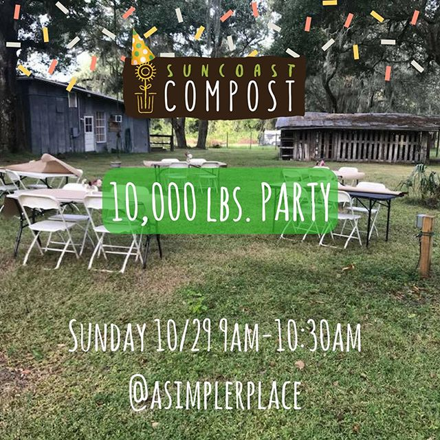 Y'all. We hit a big mile marker. 10,000 lbs of food waste diverted! Help us celebrate this Sunday 10/29 the best way we know how- by having #brunch. This is an a la cart menu provided by @asimplerplace 💚 Try a house made biscuit w locally sourced honey. There won't be a crumb left to #compost which is a good thing bc we could use a break after the 5 tons we just composted. Afterwards, take a tour around the farm and see where the compost goes. #reconnectingthefoodcycle #locavore #farmtotable #riverview #tampa #stpete