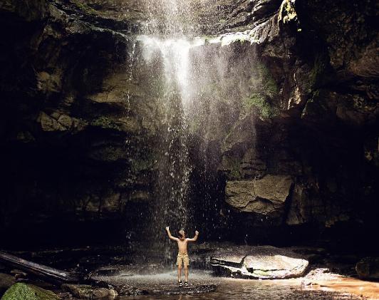 Jenny's son at Lost Creek Falls, TN