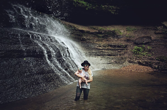 Jenny and her youngest at Stillhouse Falls, TN