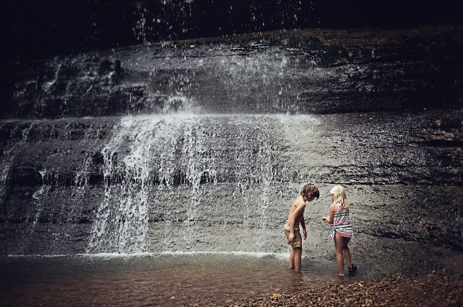 Jenny's son and his friend playing in Stillhouse Falls, TN
