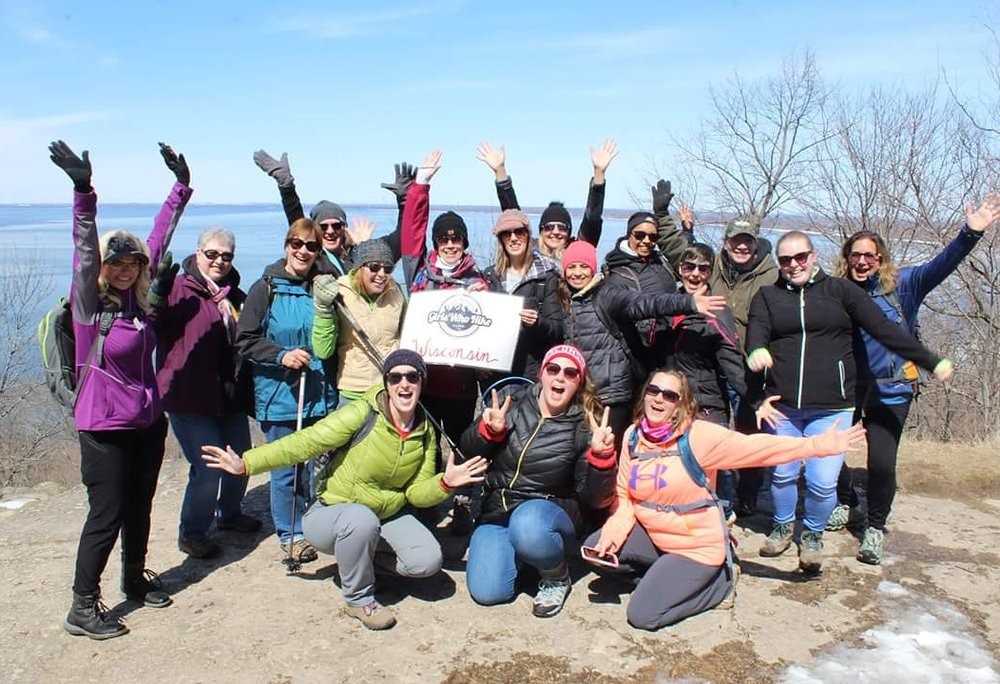 GWHWI at High Cliff State Park. Annie is in the bottom middle showing us her peace signs!