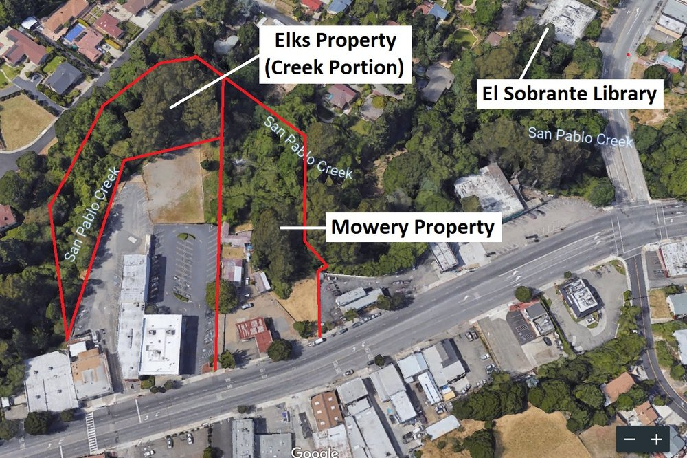 This aerial view of the Mowery Property at 4001 & 4011 San Pablo Dam Road shows its location in downtown El Sobrante, CA.