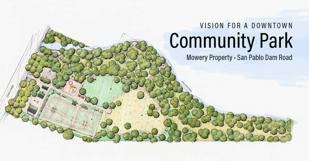 This architectural rendering shows how the Mowery Property at 4001 & 4011 San Pablo Dam Road could be transformed into a Creekside Community Park.  View details  of what is possible!