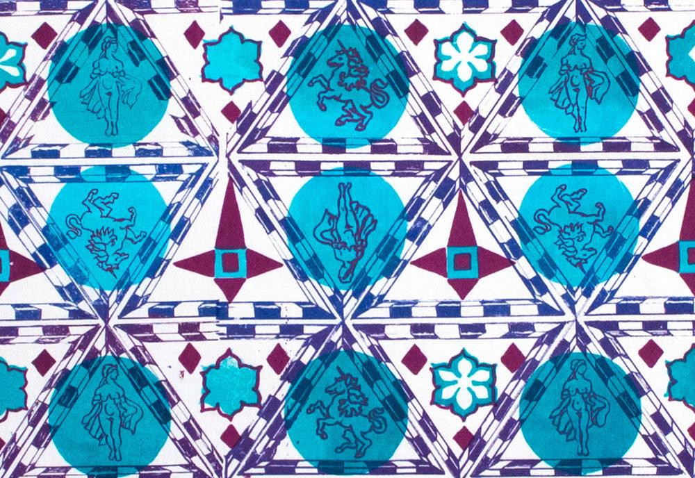 Unicorn and Goddess tapestry, blue (detail) (2016),  3 layer silkscreen    5 x 4 ft